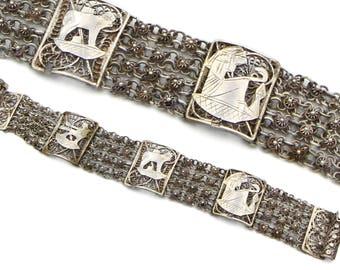 Antique 1930s Silver Chain Bracelet, Filigree Wide Linked Bracelet, Cairo 600 silver Jewelry, Multi Chain Bracelet, Floral Flowers Bracelet