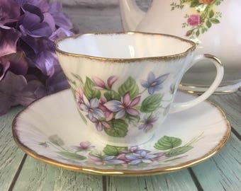 Scalloped Dainty Violets Teacup Saucer Set Made in England by Royal Heritage Vintage Fine Bone China Porcelain Lovely