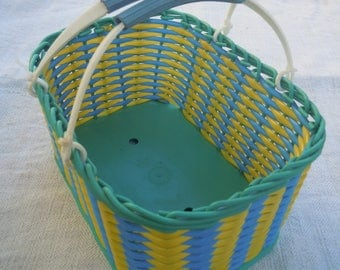 Wicker basket. Vintage plastic basket Ukraine 1980s.