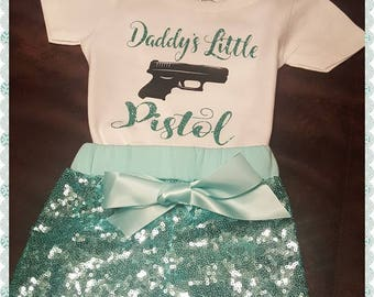 "Infant, Toddler, Baby Girl, Girls, Custom Personalized Outfit ""Daddy's Little Pistol"" Sequined Shorts, Glitter, Design Toddler Little Girl"