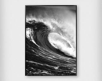 Crashing Wave Print | Nature | Black - White | Ocean - Sea - Poster