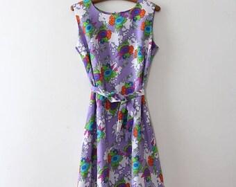SUMMER SALE vintage 1960s floral dress // 60s purple floral shift dress