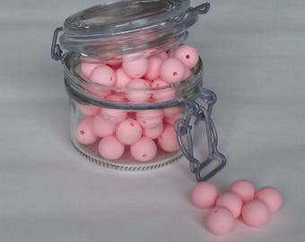 Set of 5 round beads silicone pink 15mm QUARTZ for making ties pacifiers, teethers