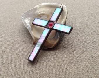 Vintage cross lead-light pendant