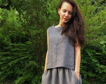 Pure linen top - Summer top - Natural top - Linen tank top - Gray top - Plus size linen - Linen top for women - Linen tank - 100% linen
