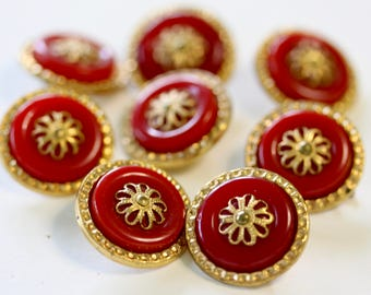 8 Red and Yellow Metal Buttons