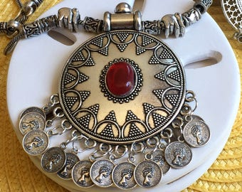 Afghan jewelry; Rajasthani jewelry; Sterling silver necklace; Sterling silver earrings; Oxidized silver necklace; Elizabeth; Tibetan jewelry