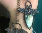 "Labradorite copper bat necklaces//16"" chain//"