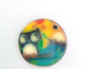 5 cabochons round glass owls heart 10mm