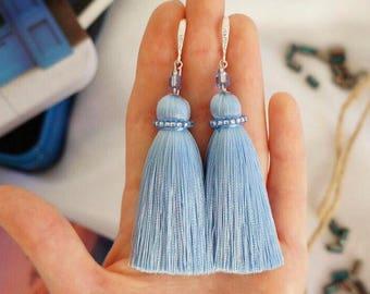 Blue tassel earrings with silver plated findings