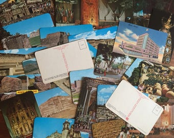 Set of 29 vintage postcards and travel brochures mainly from Oaxaca and Mexico City  circa 1986.