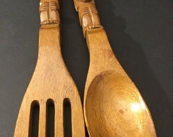 Handcrafted wood serving set for serving salad