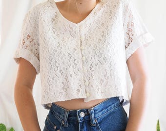 vintage white lace cotton cropped button up tee