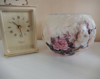 Pink and Cream Rose straw silk/mulberry paper Glass Bowl/Candle Holder