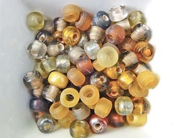 12 Indian yellow brown glass 9mm beads