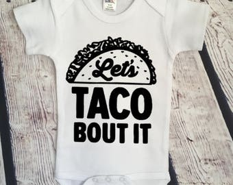 Let's Taco About it Snarky Hipster Cute Funny Adorable  Baby Onesie Romper Gift Personalized & Free Shipping