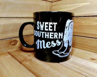 Sweet Southern Mess, Southern Charm, Country Girl, Cowgirl Boots, Simply Southern, Jumbo Coffee Mug, Cowgirl, Southern Pride, Southern Girl