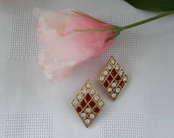 Vendôme Red and White Clip Earrings
