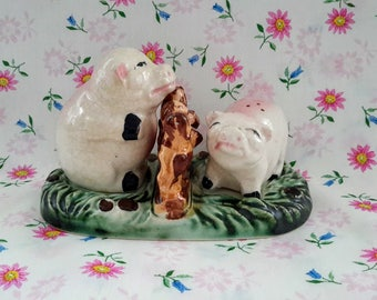 Pigs Salt and Pepper Shakers, Travel Souvenir, Made in Japan, c.1950