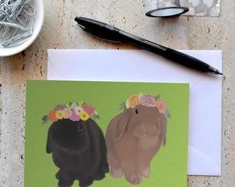 Card - Bunnies in flower crowns