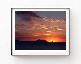 Sunset Wall Art, Instant Download Printable Art, Digital Download, Red Print