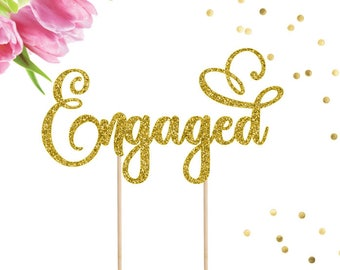Engaged Cake Topper, Bridal Shower Cake Topper, Engagement Cake Topper, Engagement Party, Engagement Decor, Bride to Be, We're Engaged