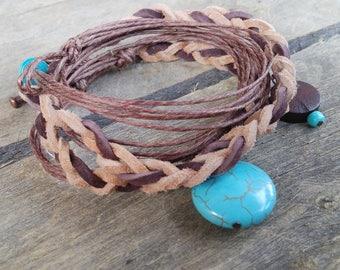 wrap bracelet, boho bracelet, charm bracelet, braided bracelet