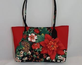 Poinsettia purse set - Handmade purse set - Red bag - Handbag - Poinsettia print - Red Black print - Handmade - Fabric bag - Double strap