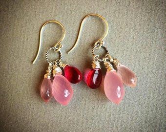 Pink chalcedony, rose quartz and pink tourmaline earrings