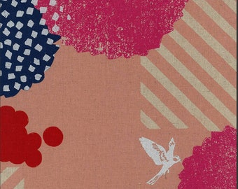 Kokka Echino 2018 Linen Canvas - Japanese Fabric - Blossom in Pink - Metallic Canvas Fabric - Half Yard (about 50cm) Pre Cut
