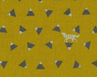 Japanese Linen Canvas - Kokka Fabric - Echino 2018 Triangle in Mustard - Metallic Canvas Fabric - Half Yard (about 50cm) Pre Cut