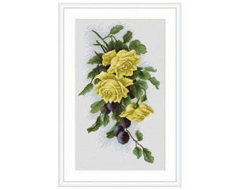 Yellow roses with plums Counted Cross Stitch kit Luca-S