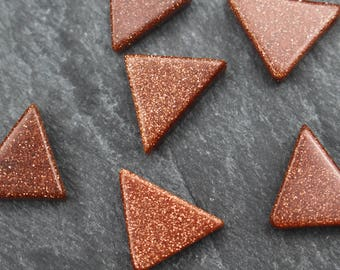 FIVE Goldstone Beads, SUPER SPARKLY Triangle Shaped, 10mm x 15mm