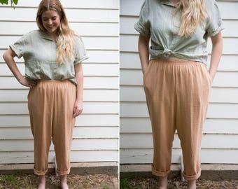 Peach Linen Blend High Waisted Trousers