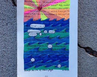 Blackout Poetry -  Through the Sea (Dealing with Blue) - Art and a Donation to AHA
