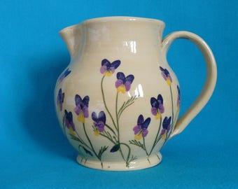Large pottery jug. Milk jug. Viola jug. Heartsease jug. Utensil pot.