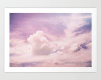 Pink Sky Art Print, Sky Nursery Wall Art, Pink Nursery Wall Art, Pastel Pink Clouds Art Print, Light Pink Sky Art Print, Pastel Sky Artwork