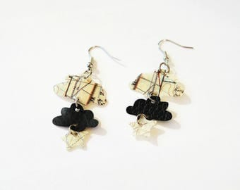 Clouds and star earrings made of recycled plastic