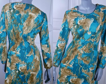 1960s Vintage Maxi Dress, Mad Men Style Long Dress, Turquoise Beige Psychedelic Abstract Pattern Dress: Size 8 US, Size 12 UK