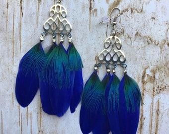 Electric Blue Feather Earrings, Handmade earrings, Feather jewelry, Feather earrings, Hippie Earrings, Gypsy earrings, New Age jewelry