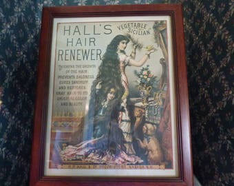 Vintage Hall's Hair Renewer reproduction advertising poster