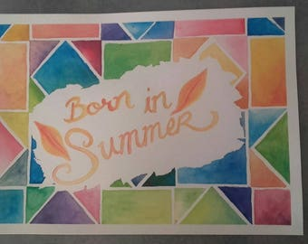 Illustration watercolor decoration kid room baby born in summer