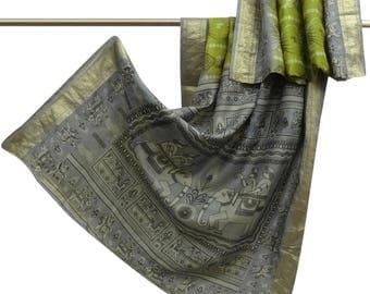 Vintage Indian Green Human Printed 100% Pure Silk Saree Antique Sari Craft Fabric Upcycled Fabric 5YD VPS49816