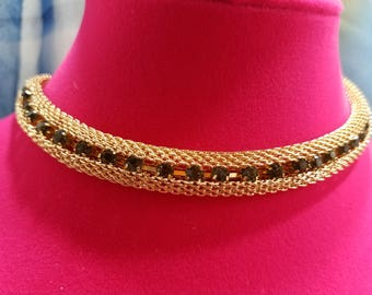 Gorgeous Crown Trifari Gold Mesh With Rhinestone Necklace