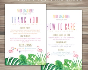 Tropical flamingo and flowers Thank You Card, Thanks Cards, Care Cards, Fast Free Personalization, For Retailer, Home Office Approve K25J13