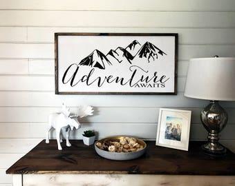Adventure Awaits Sign | Wooden Framed Sign | Nursery Decor | Wanderlust | Travel Decor | Kids Room