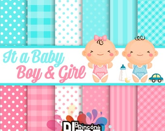 12 Digital papers 12 baby boy and Girl 300PDI