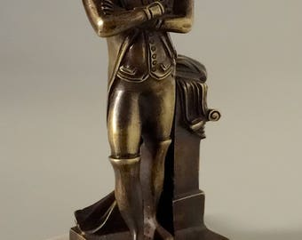 Antique French Bronze Desktop Napoleon Figurine Hand