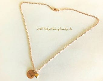 Brass Hand Stamped Disk on Rose Gold Chain, Personalized Monogram Necklace, Initial Jewelry with Tiny Gold Heart  Embellishment
