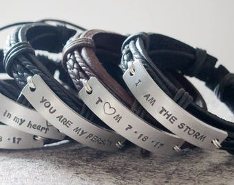 Men's personalized bracelet, Valentines day GIFT for him, Man bracelet Leather Bracelet, mens LEATHER bracelet, personalized bracelet